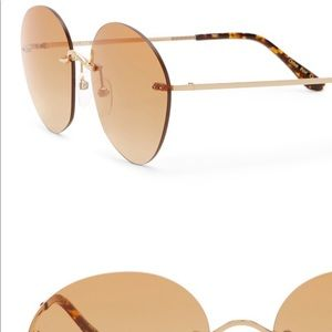 TOMS – Clara 55mm Rimless Round Sunglasses GOLD